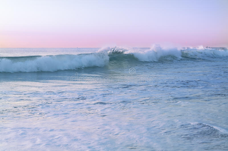 Seascape with pastel colors during sunrise stock photos