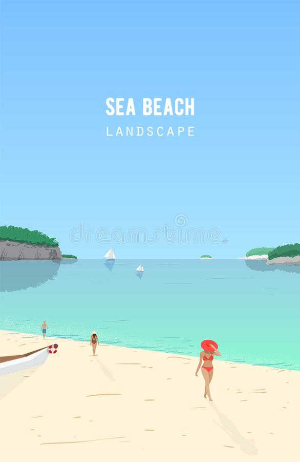 Seascape with people walking on sand beach and sail boats floating in azure sea. Seaside landscape with ocean coast and vector illustration