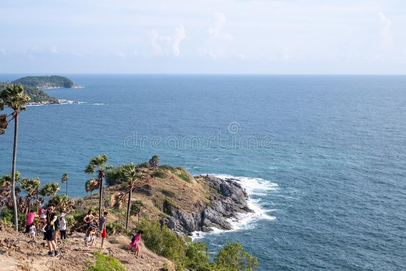 Seascape of Phuket Best View Point Sunset at Phrom Thep Cape. royalty free stock photos