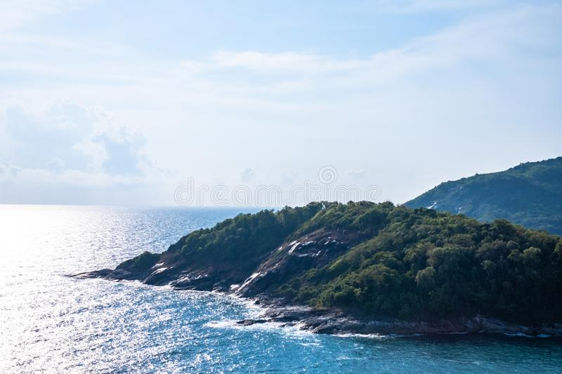 Seascape of Phuket Best View Point Sunset at Phrom Thep Cape. stock photos