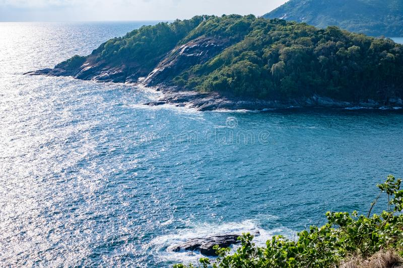 Seascape of Phuket Best View Point Sunset at Phrom Thep Cape. stock images