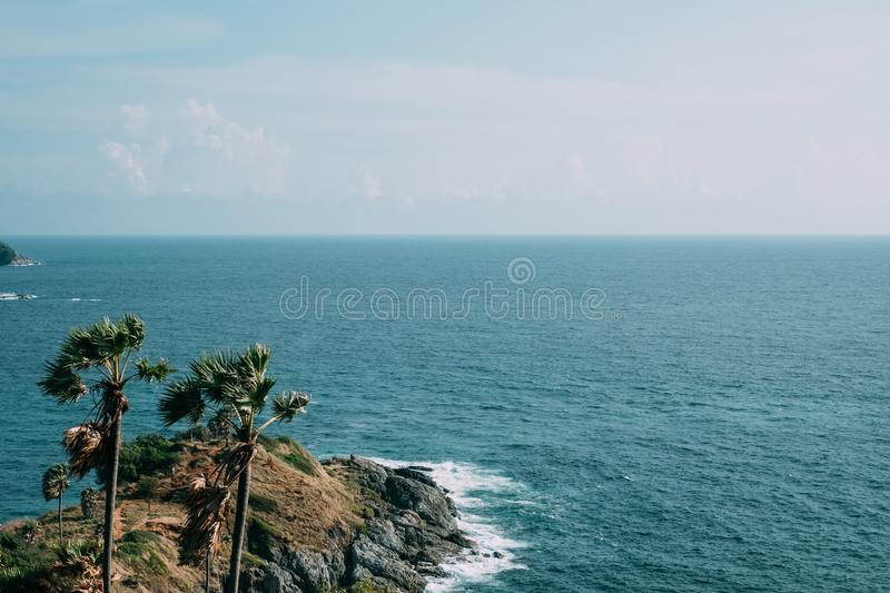 Seascape of Phuket Best View Point Sunset at Phrom Thep Cape. royalty free stock photography