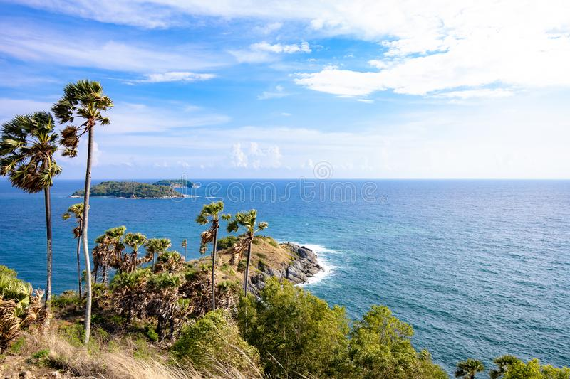 Seascape of Phuket Best View Point Sunset royalty free stock photo