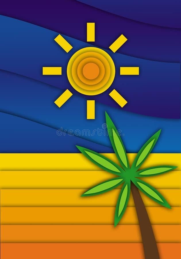seascape Piasek, drzewko palmowe, niebieskie niebo i słońce, ilustracja wektor