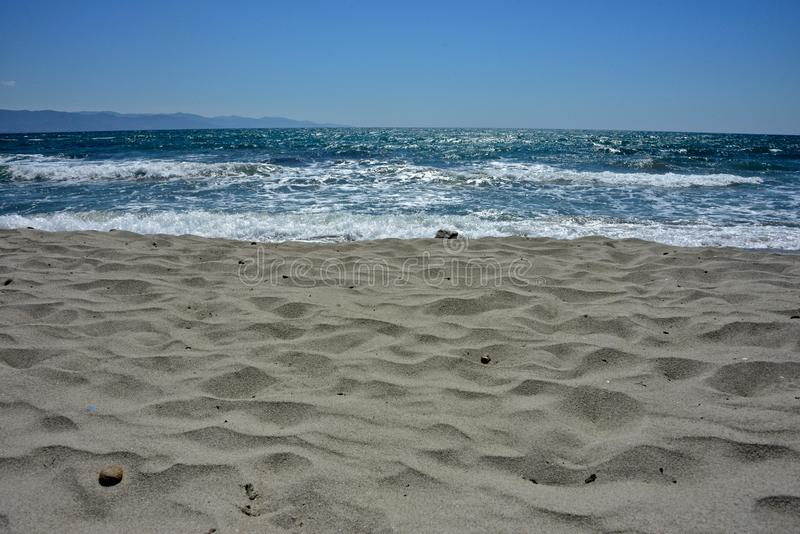 Seascape of the Poetto sandy beach royalty free stock images