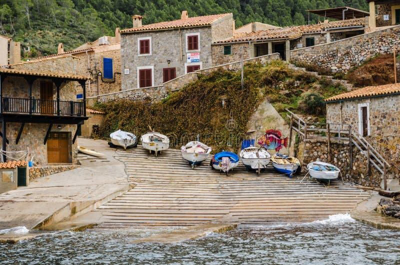Seascape port de valldemossa, majorca, wyspy balearskie, hiszpania obrazy stock