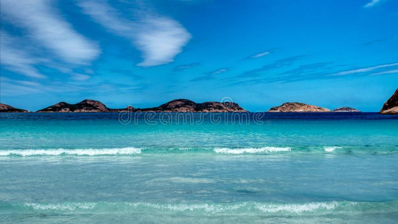 Seascape przy Szcz?sliw? Podpalan? przyl?dka Le Grand National parka zachodni? australi? zdjęcia stock