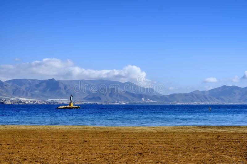 A seascape of Puerto de Mazarron in Murcia , Spain stock photos