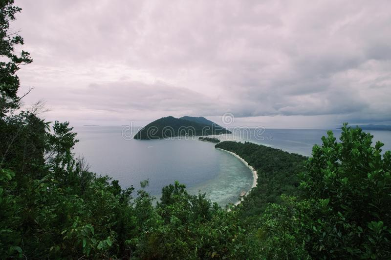 Seascape of raja ampat islands view from above. West papua royalty free stock photos