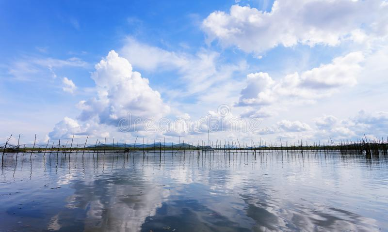 Seascape with Reflection of clouds in the tropical sea,sky and b royalty free stock images