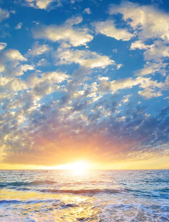 Seascape with rising sun above the summer sea. stock photography