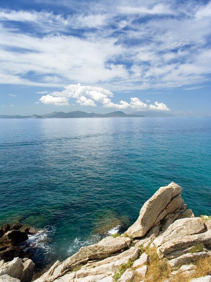 Seascape and rocks. Coastline rocks in central Italy stock photo