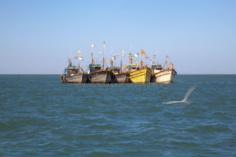 Row Fishing Boats Anchored Offshore Royalty Free Stock Photo