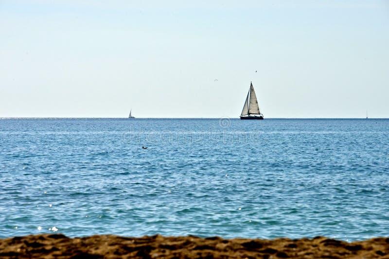 Seascape with sailing boats at the horizon royalty free stock photo