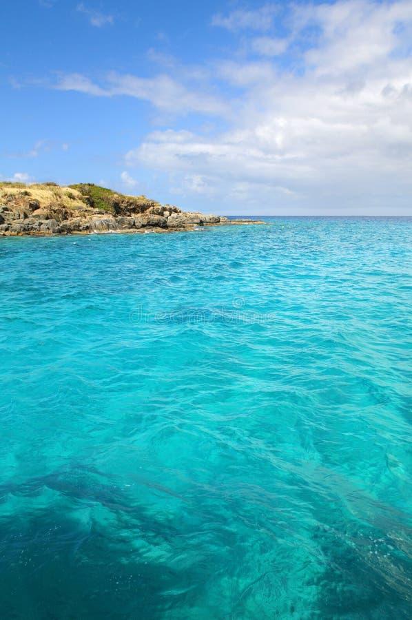 Seascape in Saint Thomas. Small island in Saint Thomas, United States Virgin Islands stock photography