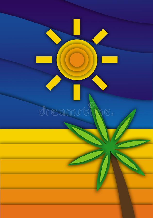 Seascape. Sand, palm tree, blue sky and sun. vector illustration
