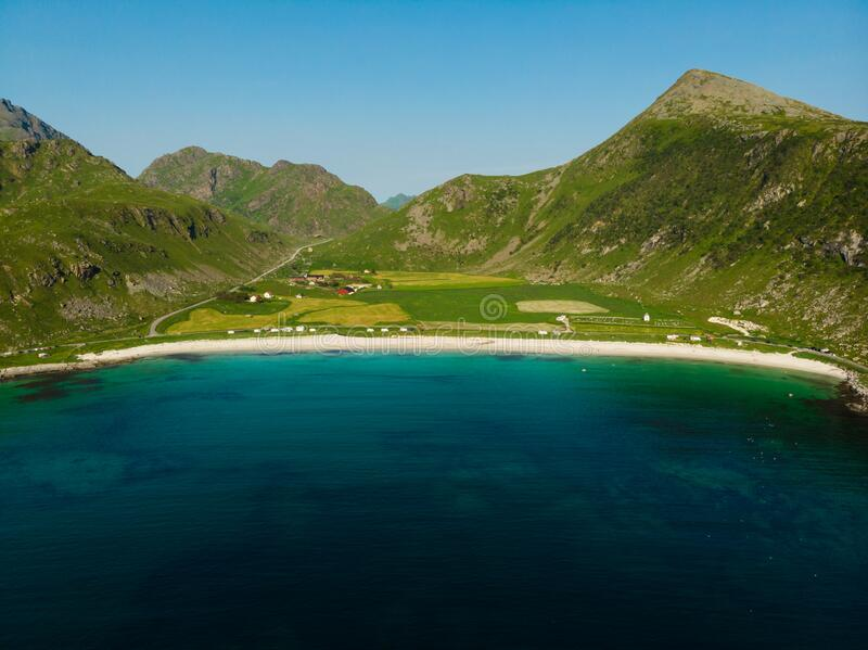 Seascape with sandy beach Lofoten Norway stock image