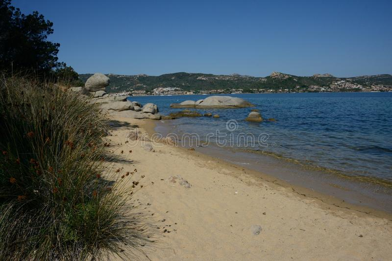 Seascape of a sandy beach royalty free stock photo