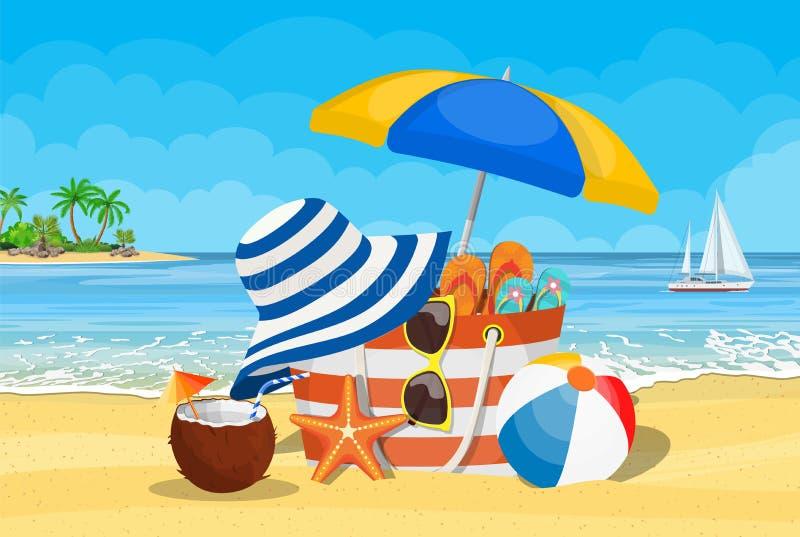 Seascape, sea, beach, beach bag, stock illustration