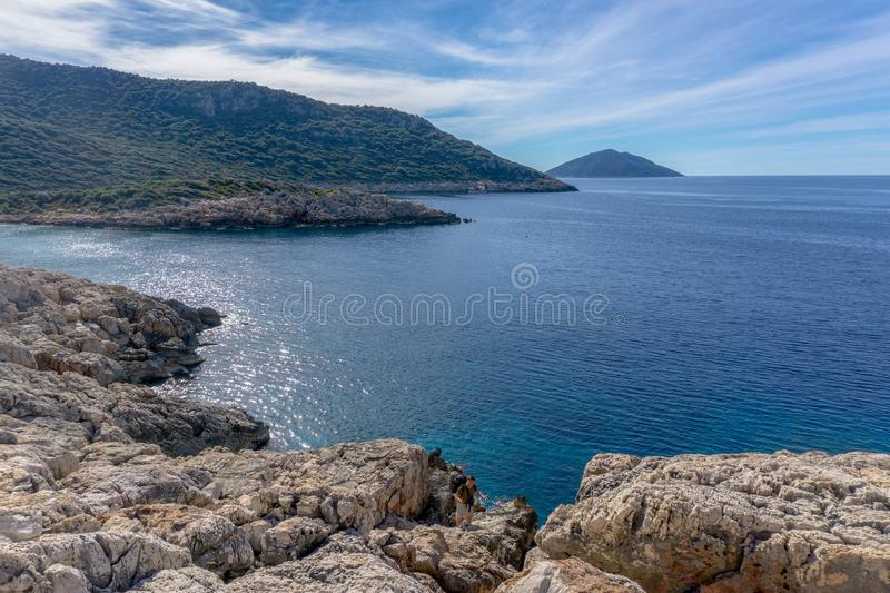 Seascape. Sea view from Western Lycian Way view point to the bay. Turkey, Lycian way. royalty free stock photo