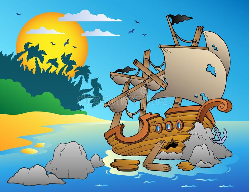Seascape with shipwreck and rocks vector illustration