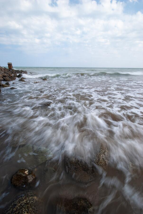 Beach waves in Muscat. Seascape shot of Beach waves in Muscat royalty free stock images