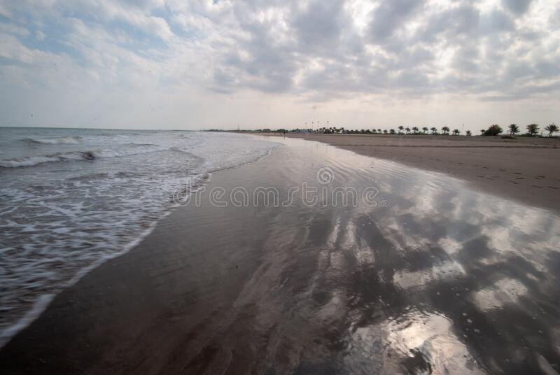 Beach waves in Muscat. Seascape shot of Beach waves in Muscat stock images