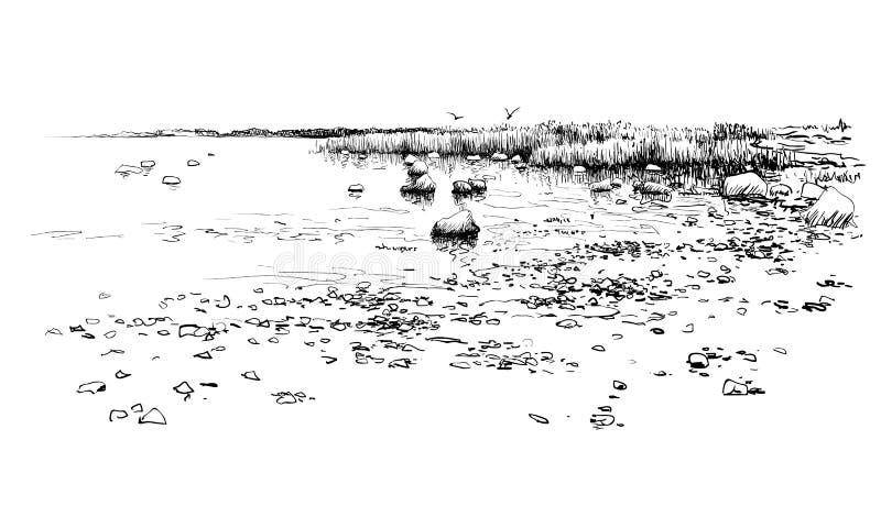 Seascape skissar teckningen Utdragen kust f?r hand, stenar, vatten royaltyfri illustrationer