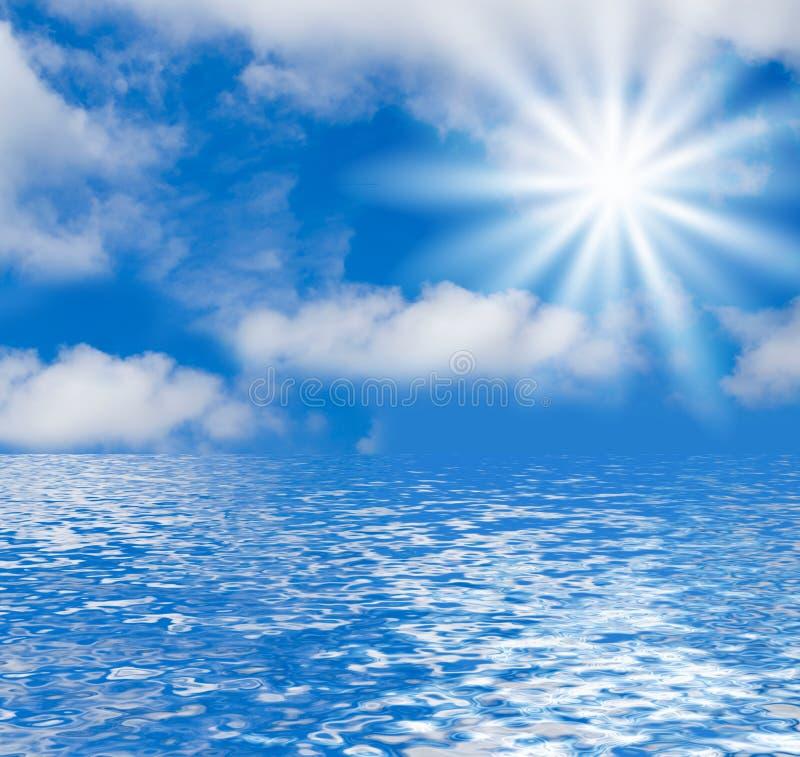 Seascape and Sky Background stock illustration