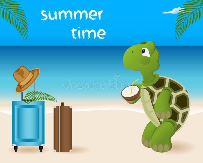 Seascape sommarstrand Sköldpaddaresor, semester Dricker thro royaltyfri illustrationer