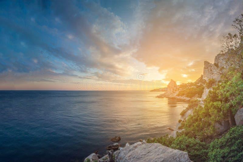 seascape stenig kust med träd på solnedgången arkivbild