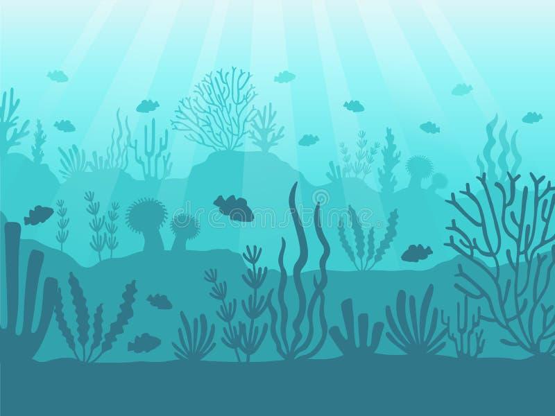Seascape subaquático Recife de corais do oceano, parte inferior de mar profundo e natação sob a água Vetor marinho do fundo dos c ilustração do vetor