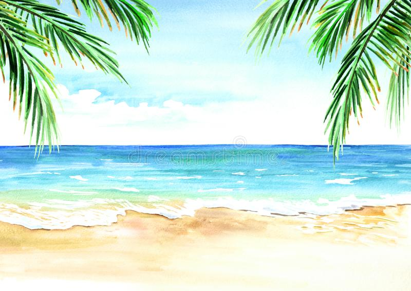 Seascape. Summer tropical beach with golden sand palm branches. stock illustration