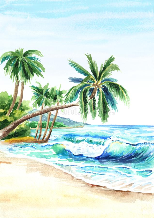Seascape. Summer tropical beach with golden sand, waves and palmes. Hand drawn vertical watercolor illustration. stock illustration