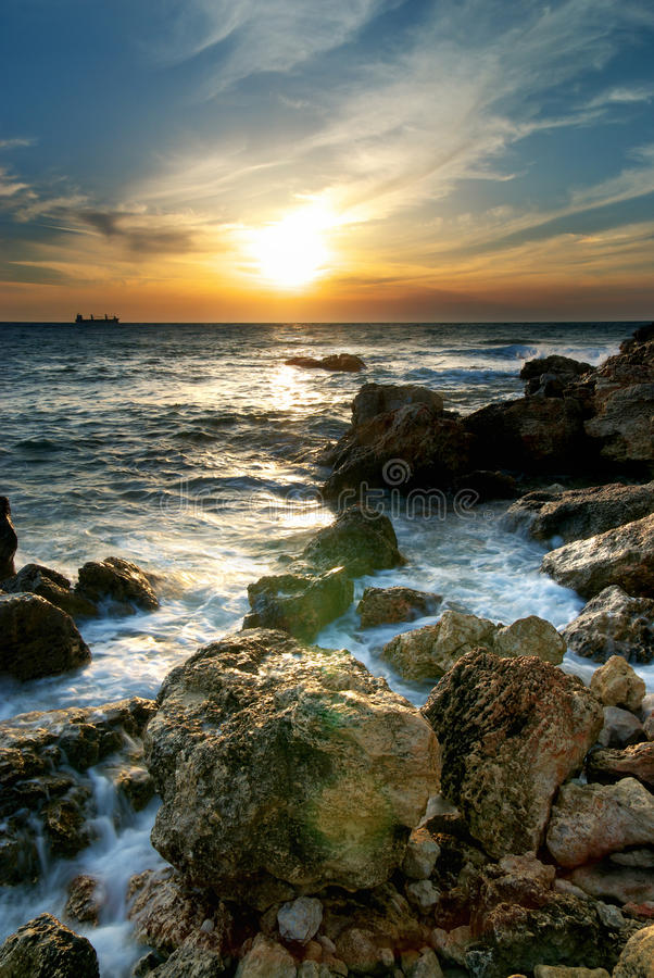 Download Seascape sunset stock image. Image of peaceful, background - 16758827