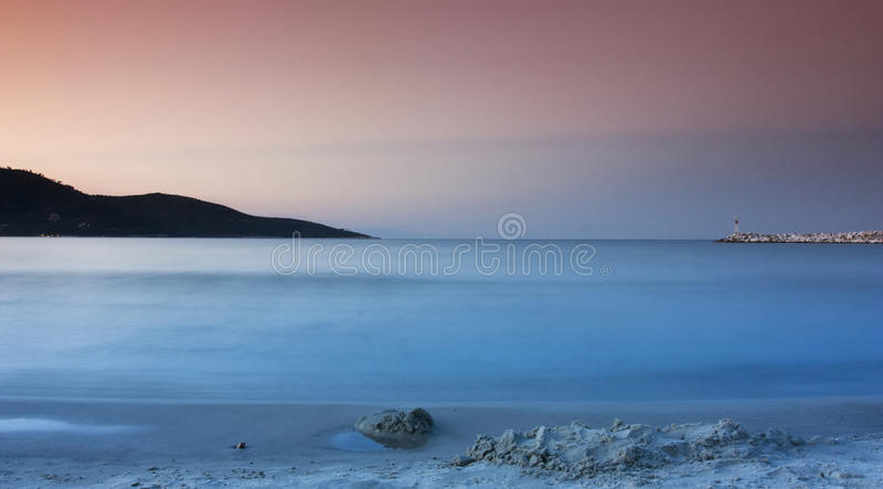 Seascape at sunset royalty free stock photos