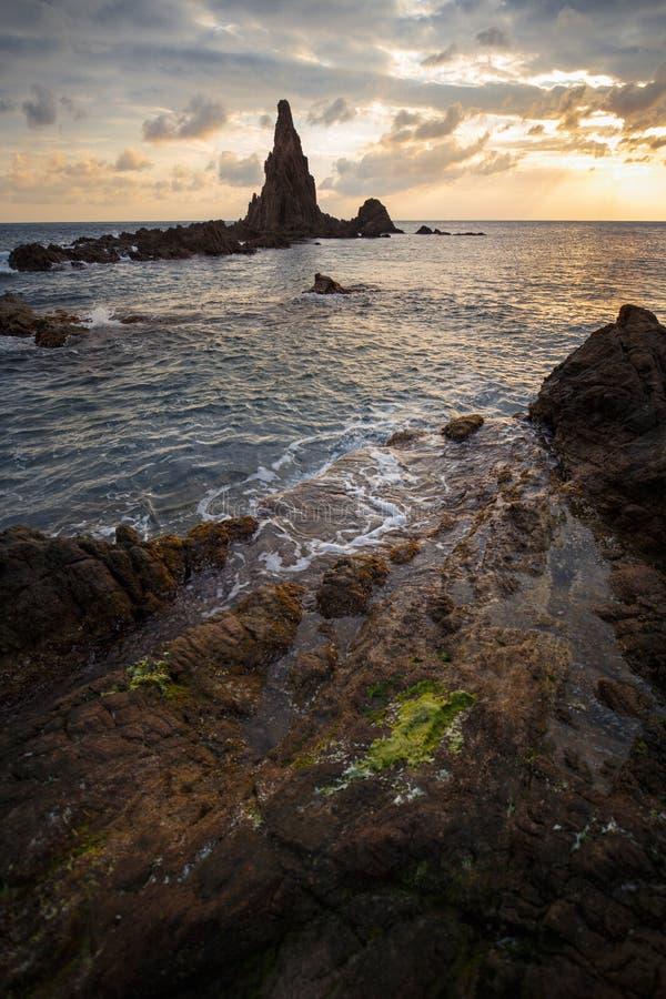 Seascape on sunset, Cabo de Gata, Almería, Spain. Seascape on sunset with rocks, Cabo de Gata, Almería, Spain stock image