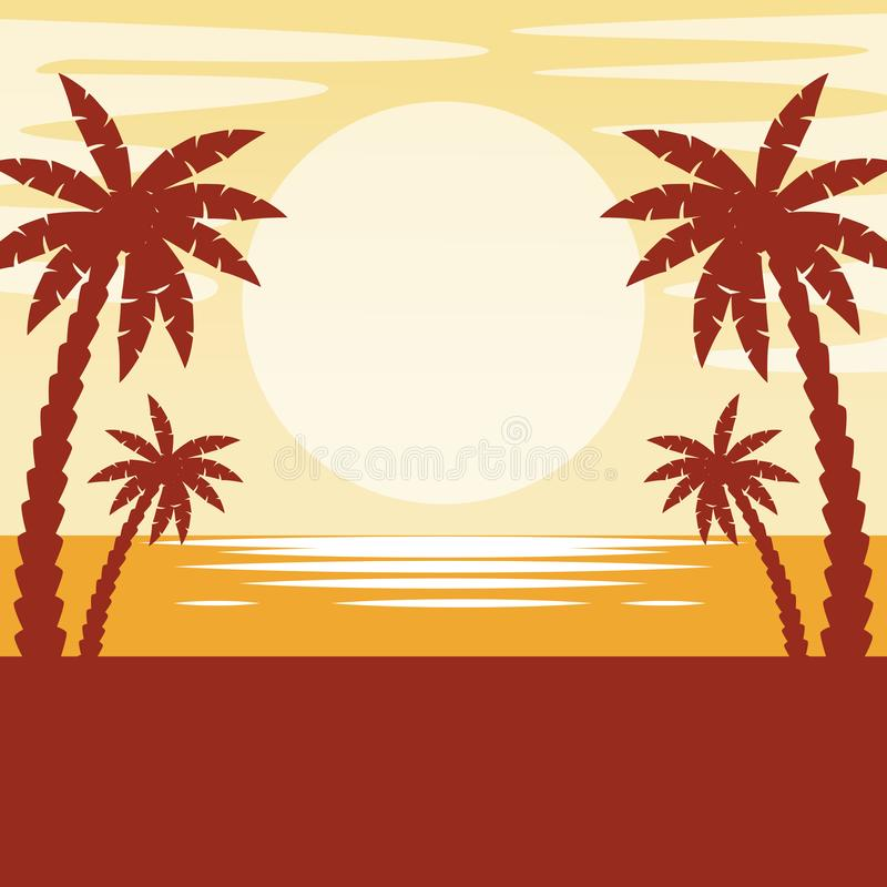 Seascape with sunset vector illustration