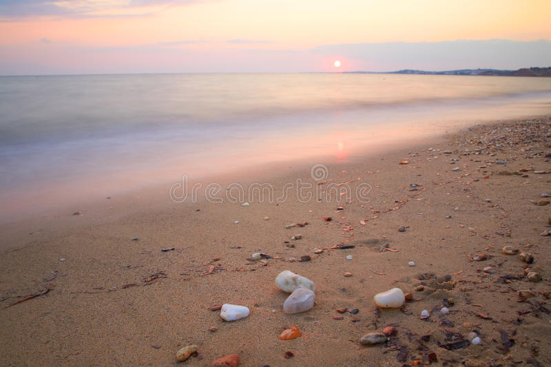 Seascape. Sunset on the sea on a summer evening royalty free stock photo