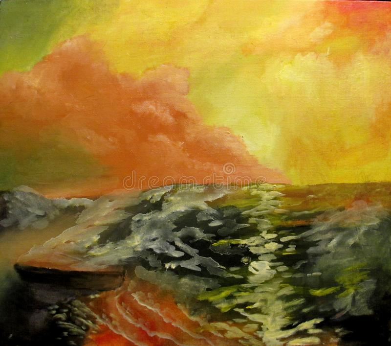 Seascape at sunset with a wave oil royalty free stock photography