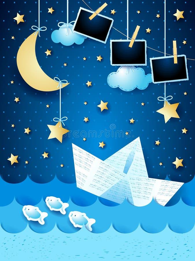 Seascape surreal com quadros do barco e da foto do papel, na noite ilustração royalty free