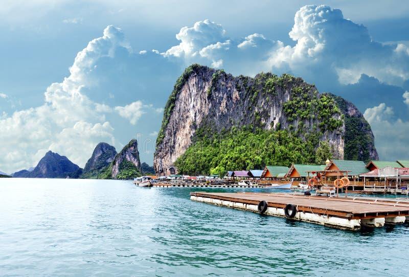 Seascape in Thailand.Phuket beach.Gypsy Nomad village royalty free stock photos