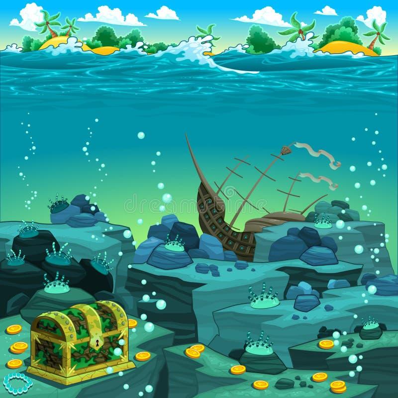 Seascape with treasure and galleon. vector illustration