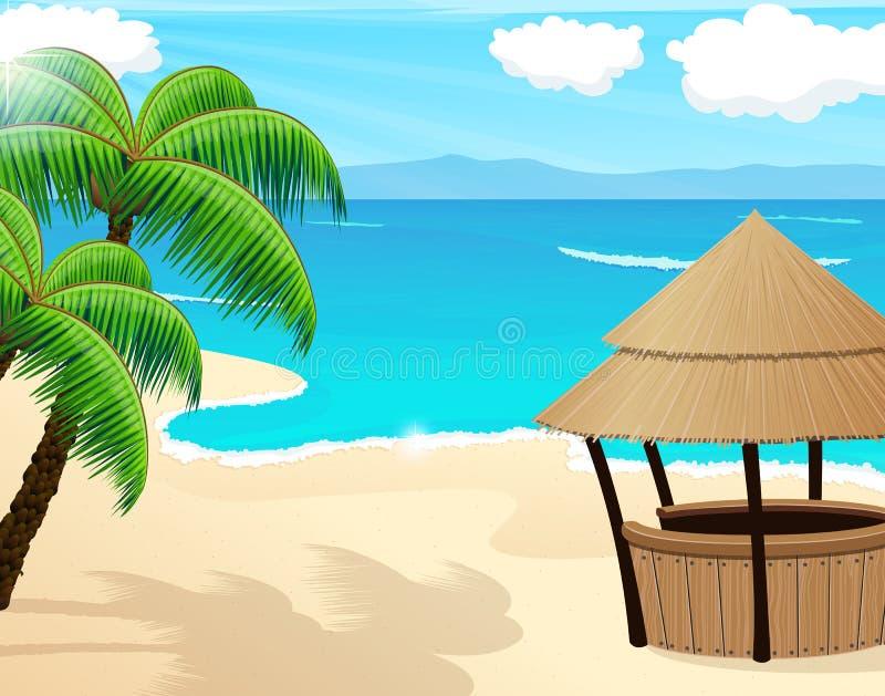 Seascape tropical ilustração stock