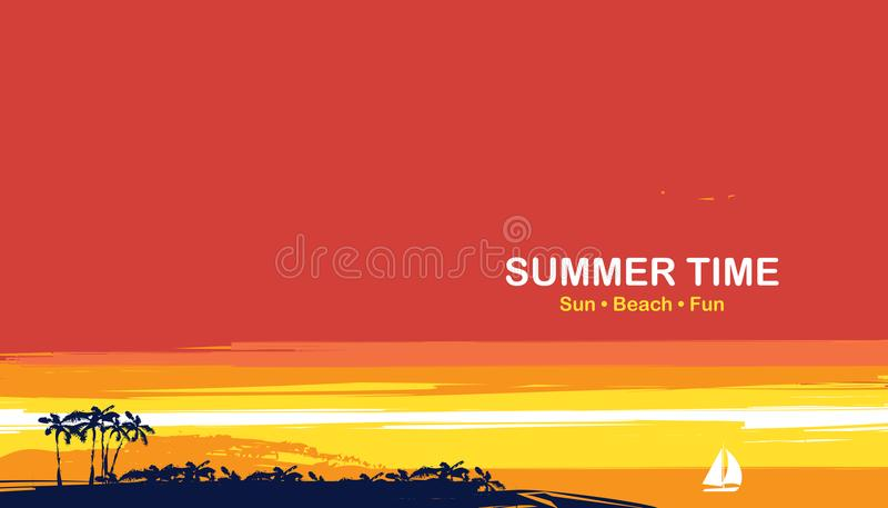 Seascape tropical do verão com palmas e veleiro ilustração royalty free