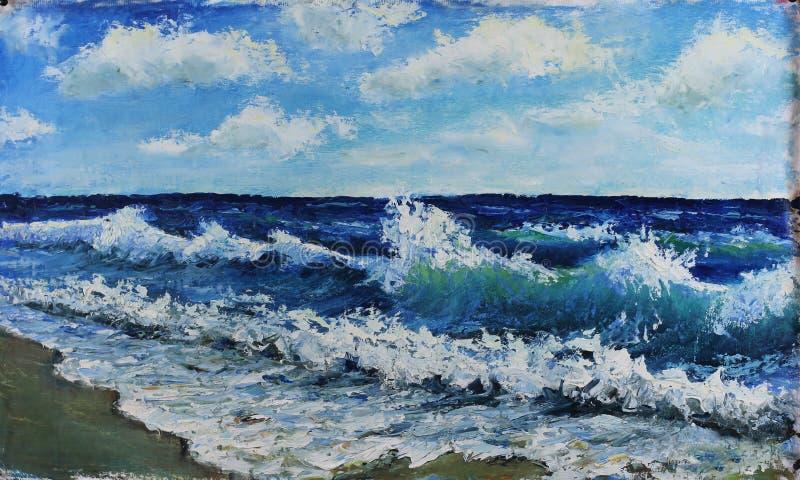Seascape vågor av havet, blå himmel, moln, olje- målning royaltyfria bilder