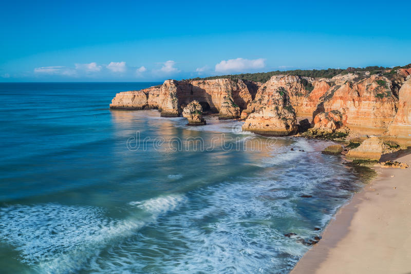 Seascape view from the mountain in Portugal. royalty free stock photos