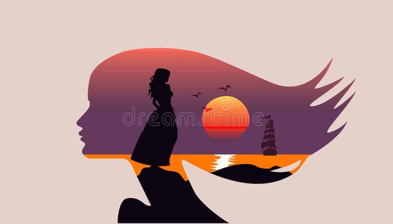 Seascape w sylwetce morze, zmierzch, żaglówka - kobiety twarzy profil, dwoisty ujawnienie - ilustracja wektor