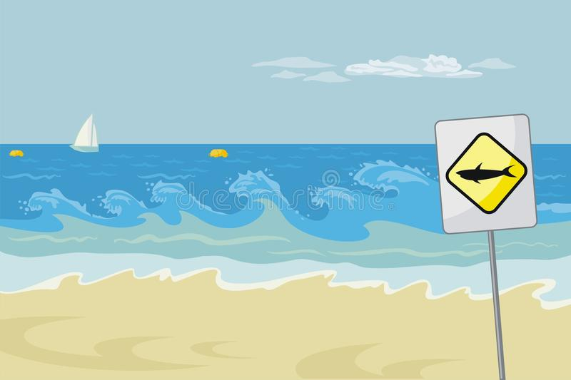 Seascape With Warning royalty free illustration