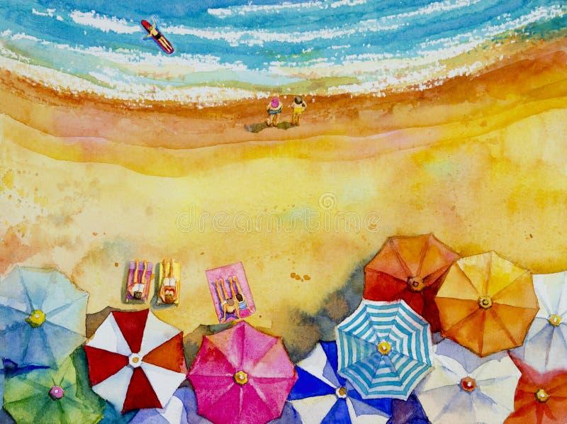 Seascape watercolor ζωγραφικής τοπ άποψη ζωηρόχρωμη των εραστών, οικογένεια ελεύθερη απεικόνιση δικαιώματος